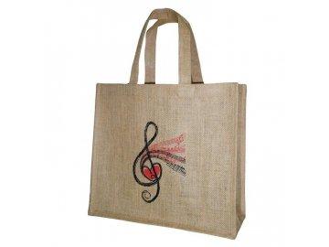 jutová taška s houslovým klíčem a srdcem