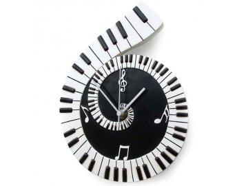 nástěnné hodiny s klaviaturou a notami