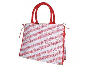 jutová taška s červenou partitou a notami