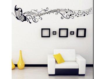 Samolepka na zeď - motýl noty černá