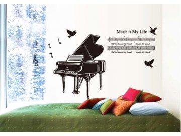samolepka na zeď klavír, partitura