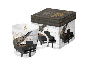 hrneček s notami, partiturou, piano, klavír, v dárkové krabičce