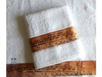 froté ručník s partiturou bílý