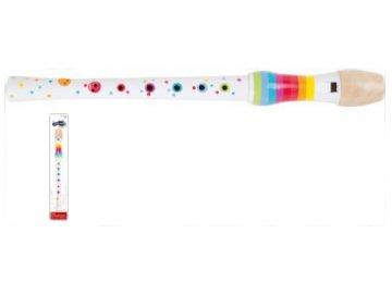 dřevěná barevná flétna s puntíky
