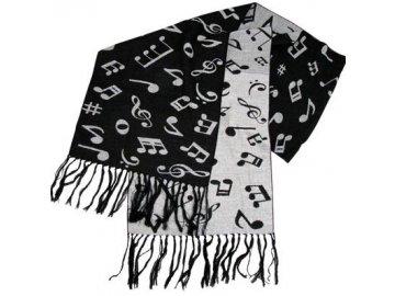 šál hudební značky pletený