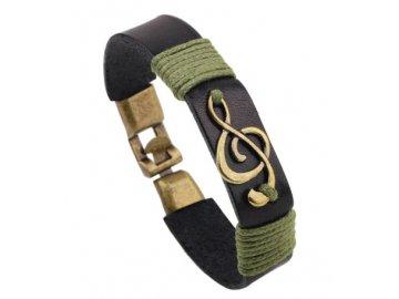 kožený náramek houslový klíč černý