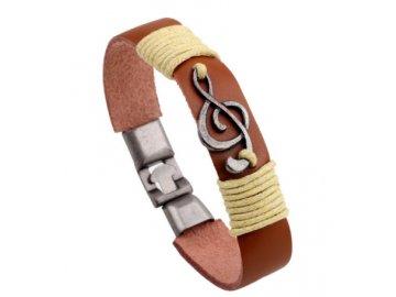 kožený náramek houslový klíč hnědý