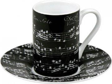 Hrnek s partiturou Vivaldi - dvojité espresso s podšálkem černý