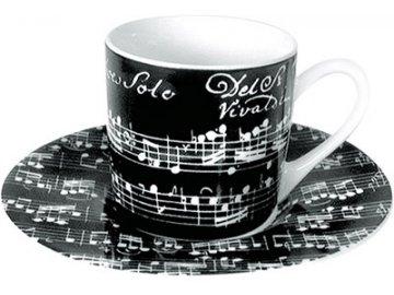 Hrnek s partiturou Vivaldi - espresso s podšálkem černý