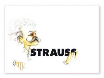 pohlednice karikatura strauss