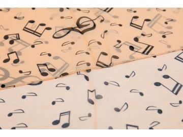 šátek lososový s hudebními motivy
