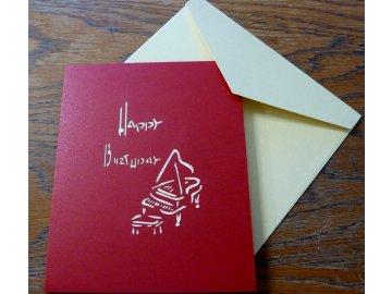 přání do obálky piano 3d