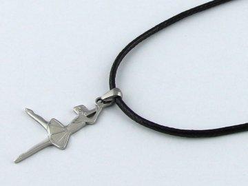 náhrdelník baletka na černé šňůrce