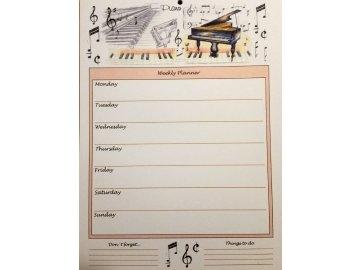 Týdenní plánovací arch A4 - klavír