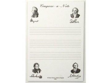 poznámkový bloček hudební skladetelé