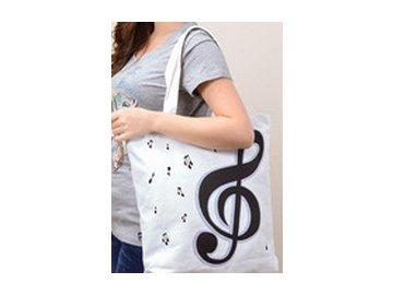 Taška s houslovými klíči bílá