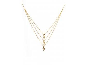 Bižuterní sada trojitý náhrdelník houslové klíče