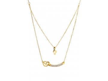Dvojitý náhrdelník houslový klíč a srdce