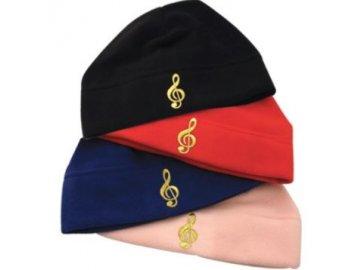 fleecová čepice houslový klíč červená