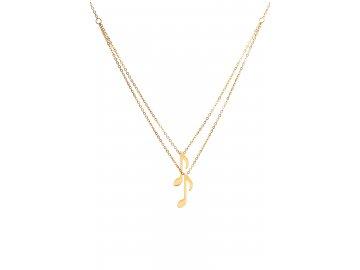 Bižuterní sada zlatá dvojitý náhrdelník noty