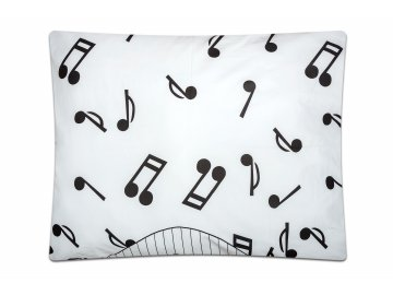 bavlněný povlak na polštář noty, klaviatura bílá