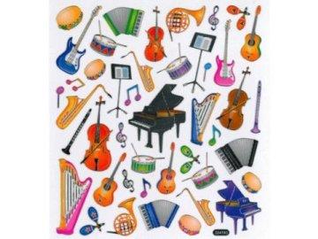 Samolepky hudební nástroje barevné