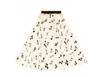 sukně s notami bílá