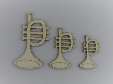 hudební dřevěné výřezy trumpety trubky