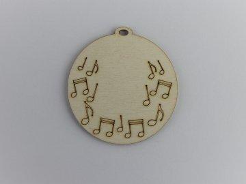 hudební dřevěné výřezy hudební medaile noty
