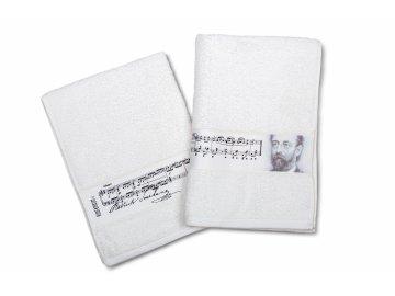 ručník a osuška polka, portrét a podpis B. Smetana bílá
