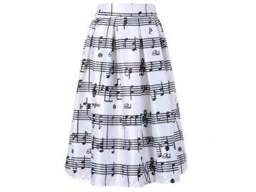 saténová sukně bílá s partiturou
