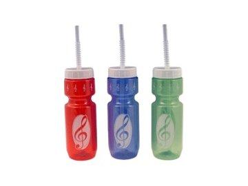 plastová lahev s brčkem houslový klíč