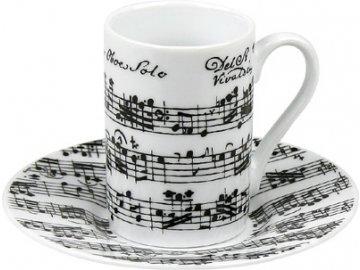 Hrnek s partiturou Vivaldi - dvojité espresso s podšálkem bílý