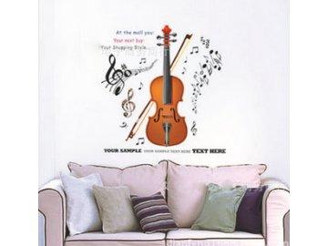 samolepka na zeď housle partitura