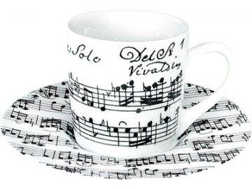 Hrnek s partiturou Vivaldi - espresso s podšálkem bílý