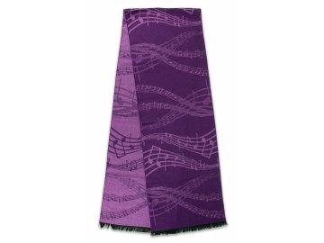 Teplý šál s partiturou fialový (1)