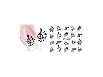 samolepky na nehty houslový klíč