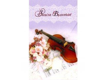 srdečné blahopřání housle