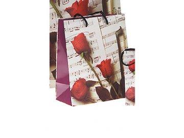 dárková taška s růžemi a notami