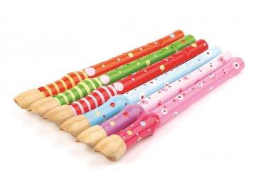 hudební nástroj, barevná flétna kytičky a puntíky