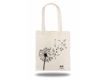 Látková taška pampeliška s notami přírodní