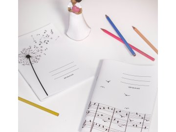 Sešit A5 linkovaný partitura s ptáčky (1)