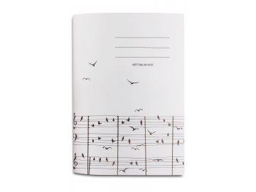 Sešit A5 partitura s ptáčky (2)