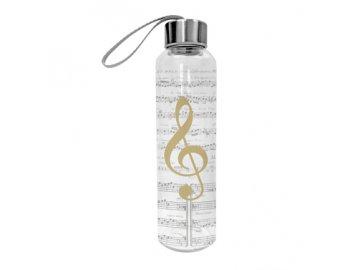 skleněná láhev na pití houslový klíč