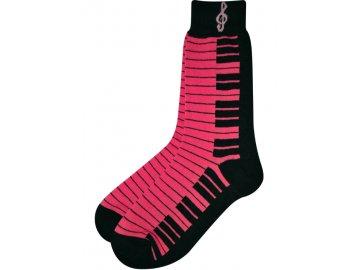 Ponožky s klaviaturou dámské růžové
