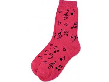 Ponožky HUDBA dámské růžové
