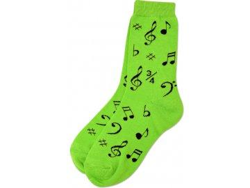 Ponožky HUDBA dámské zelené