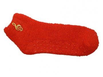 Teplé dámské ponožky houslový klíč červené