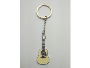 Přívěsek na klíče klasická kytara kov, bílá