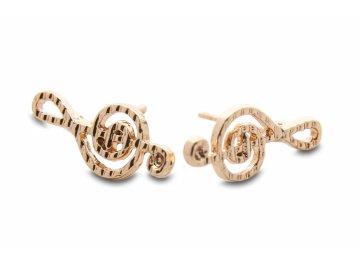 Náušnice houslové klíče zlaté, zdobené vroubky (1)